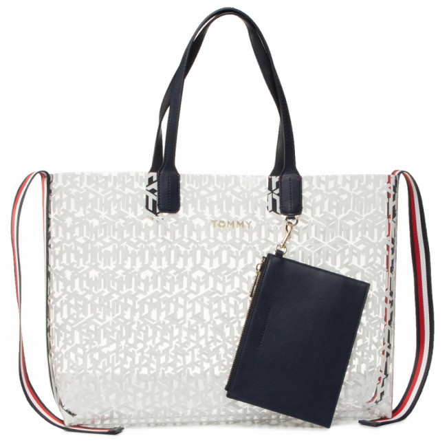 Kabelka TOMMY HILFIGER - Iconic Tommy Tote Transparent AW0AW08319 WHT