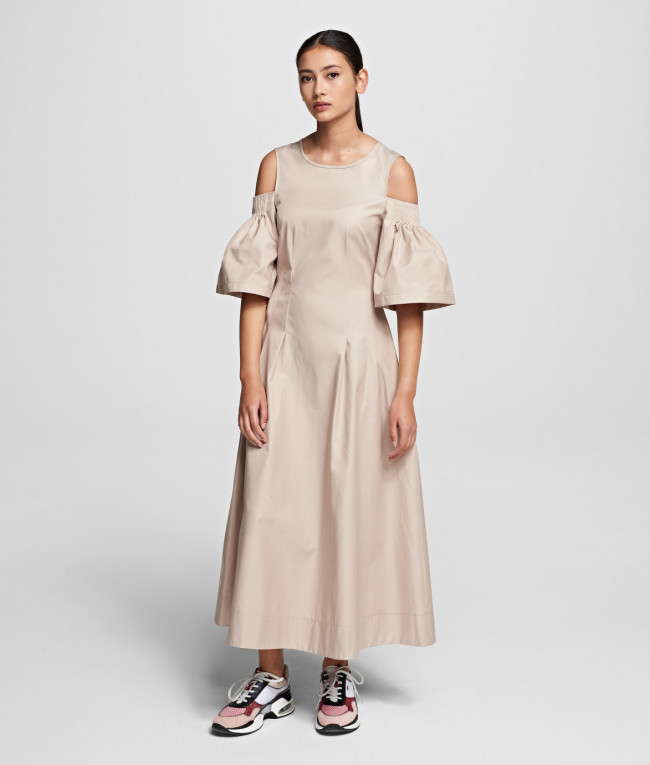 Šaty Karl Lagerfeld Cold Shoulder Flare Dress - Hnedá - 38