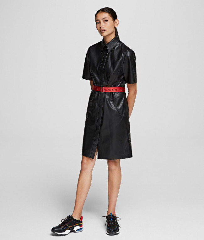 Šaty Karl Lagerfeld Faux Leather Shirt Dress