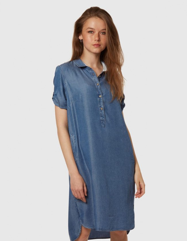 Šaty La Martina Woman Short Dress Denim Tencel