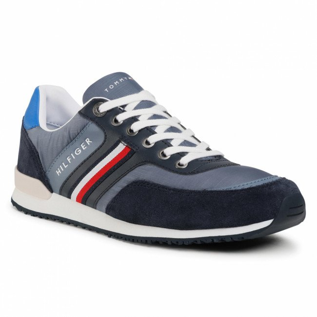 Sneakersy TOMMY HILFIGER - Iconic Material Mix Runner FM0FM02847 Grey Dusk PO7