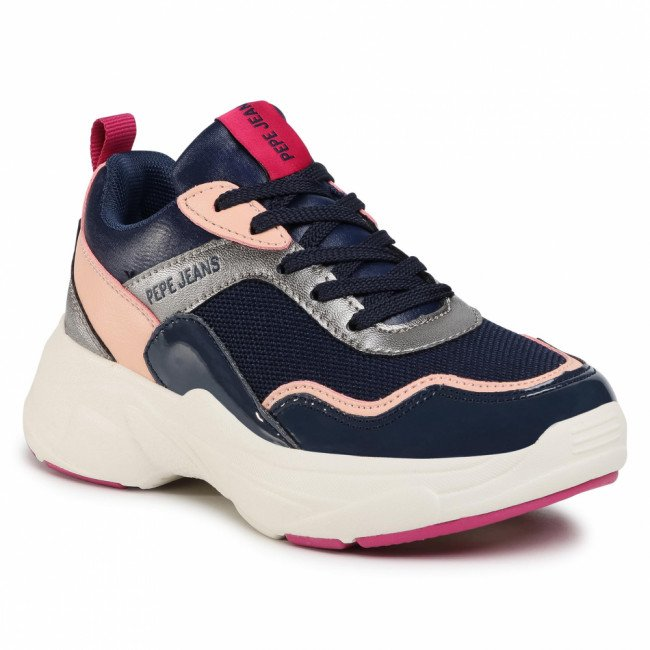 Sneakersy PEPE JEANS - Sinyu Girl Pattent PGS30469  Navy 595
