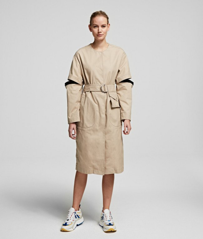 Kabát Karl Lagerfeld Soft Cotton Coat W/ Cut Out