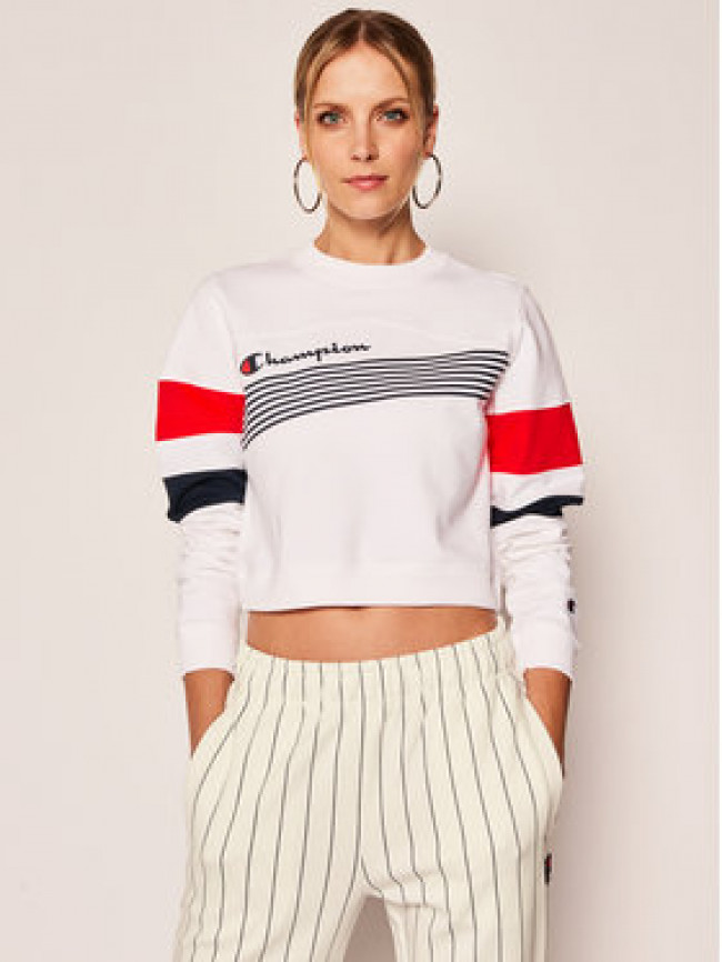 Champion Mikina Graphic Stripe And Colour Block Cropped 112761 Biela Regular Fit
