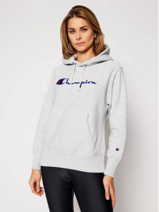 Champion Mikina Script Logo 113794 Sivá Regular Fit