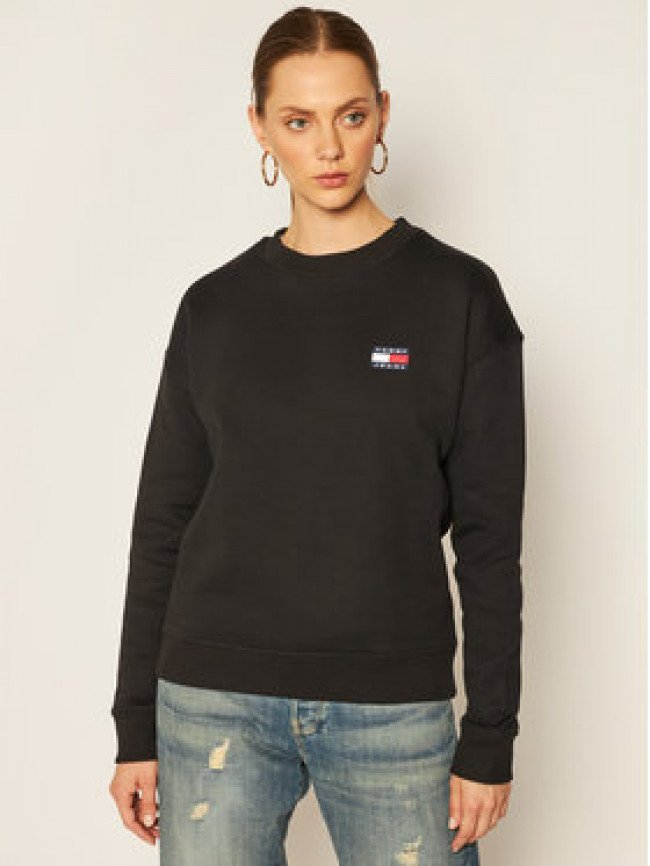 Tommy Jeans Mikina Tjw Tommy Badge Crew DW0DW07786 Čierna Regular Fit