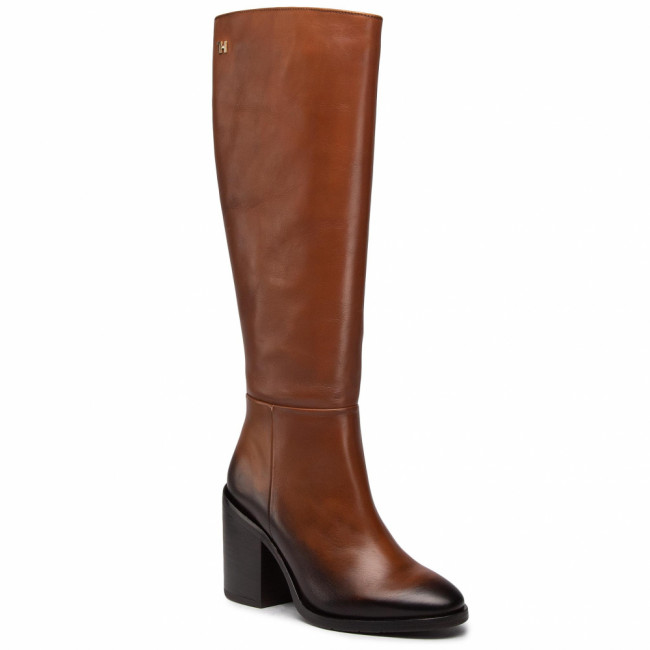 Čižmy TOMMY HILFIGER - Shaded Leather Long Boot FW0FW05174 Pumpkin Paradise GOW