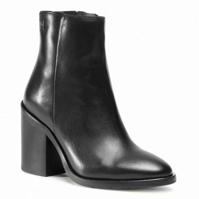 Členkové čižmy TOMMY HILFIGER - Shaded Leather High Heel Boot FW0FW05164 Black BDS