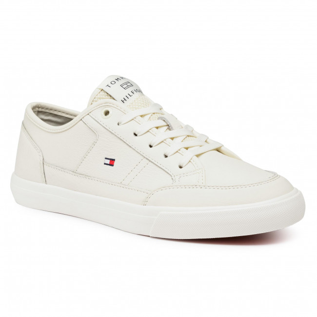 Sneakersy TOMMY HILFIGER - Core Corporate Leather Vulc FM0FM02980 Ivory YBI