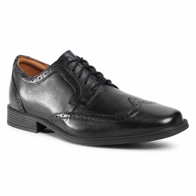 Poltopánky CLARKS - Tilden Wing 261462197 Black Leather
