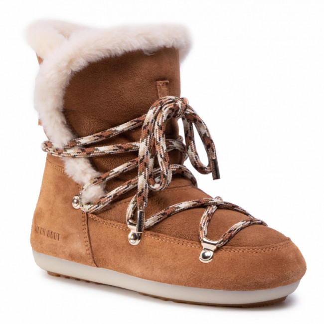 Snehule MOON BOOT - Dk Side High Shearling 24300100001  Whisky/Off White
