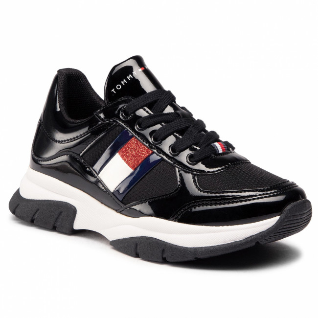 Sneakersy TOMMY HILFIGER - Low Cut Lace-Up Sneaker T3A4-30818-1022 M Black 999