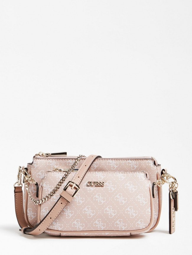 Guess púdrová crossbody kabelka Arie Crossbody 4G Logo All Over