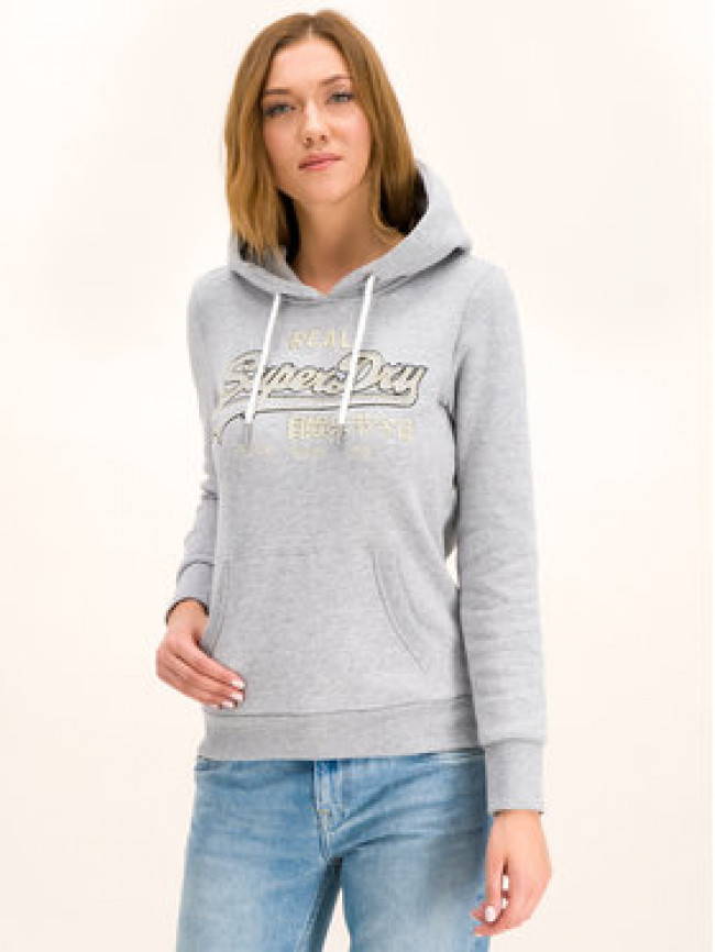 Superdry Mikina Logo Emb Outline Entry W2000054A Sivá Regular Fit