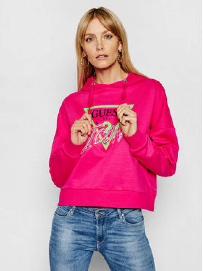 Guess Mikina Icon W1RQ05 K68I0 Ružová Relaxed Fit