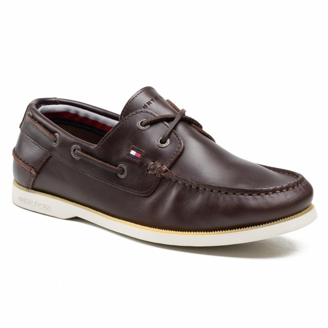 Poltopánky TOMMY HILFIGER - Classic Leather Boat Shoe FM0FM02735 Cocoa GT6