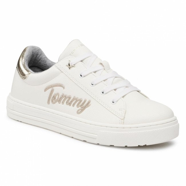 Sneakersy TOMMY HILFIGER - Low Cut Lace-Up Sneaker T3A4-31024-1190 S White/Platinum X048