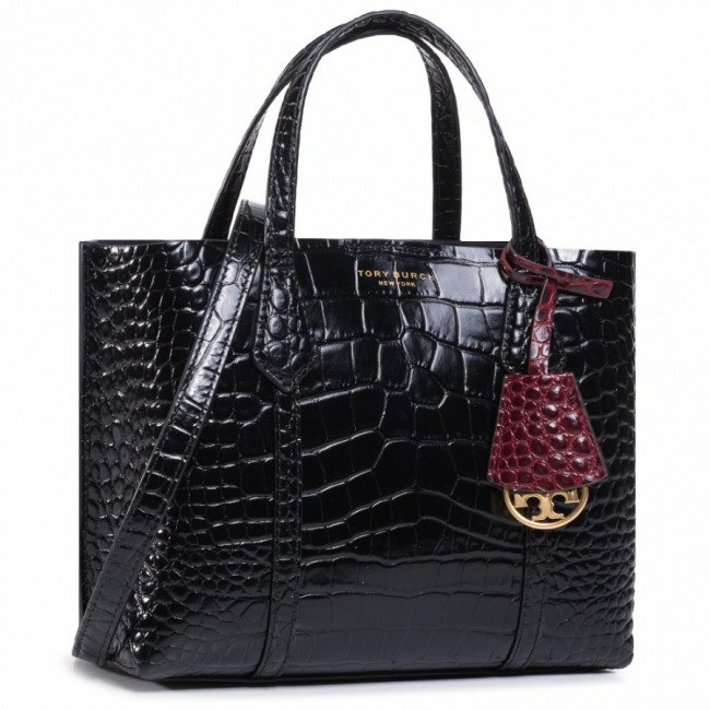 Kabelka TORY BURCH - Perry Embossed Small Triple-Compartment Tote 74594 Black 001