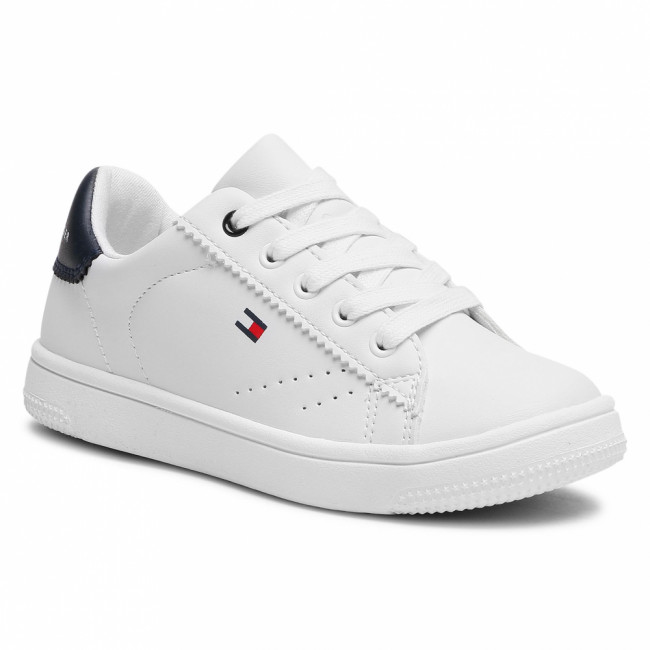 Sneakersy TOMMY HILFIGER - Low Cut Lace-Up Sneaker T3B4-31086-0193 M White/Blue X336