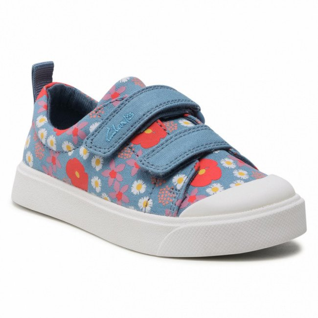 Tramky CLARKS - City Bright T 261565057 Blue Floral