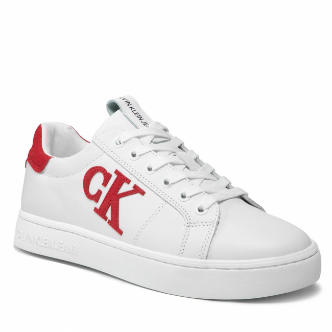 Sneakersy CALVIN KLEIN JEANS - Cupsole Laceup Sneaker Logo YM0YM00285 White/Salsa 02R
