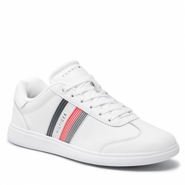 Sneakersy TOMMY HILFIGER - Core Corporate Leather Cupsole FM0FM03624 White YBR