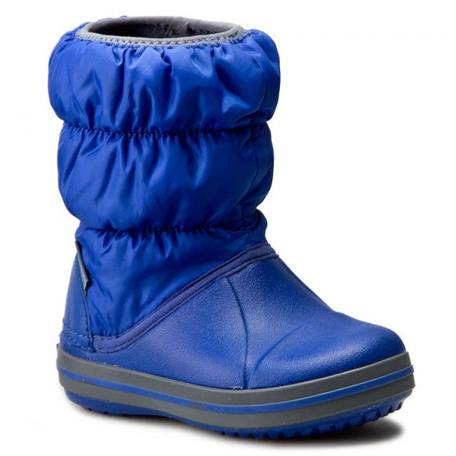 Snehule CROCS - Winter Puff Boot Kids 14613 Cerulean Blue/Light Grey