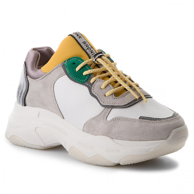 Sneakersy BRONX - 66167-A BX 1525 White/Yellow/Silver 2299
