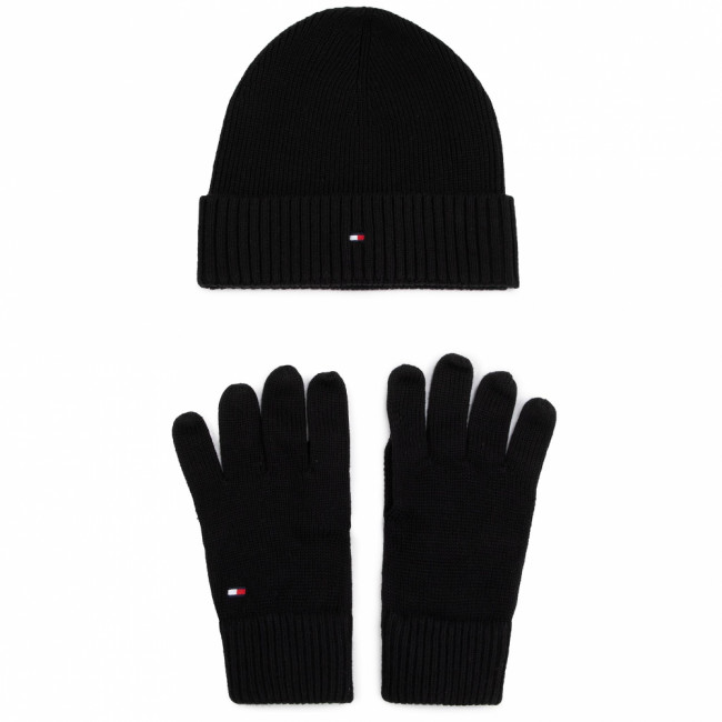 Sada čiapka a rukavice TOMMY HILFIGER - Pima Cotton Beanie & Gloves Gp AM0AM05435 BDS