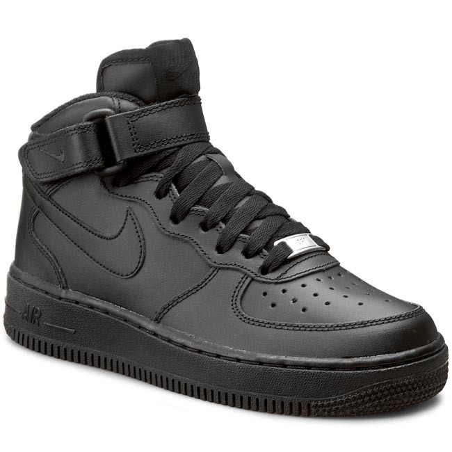 Topánky NIKE - Air Force 1 Mid (GS) 314195 004 Black/Black