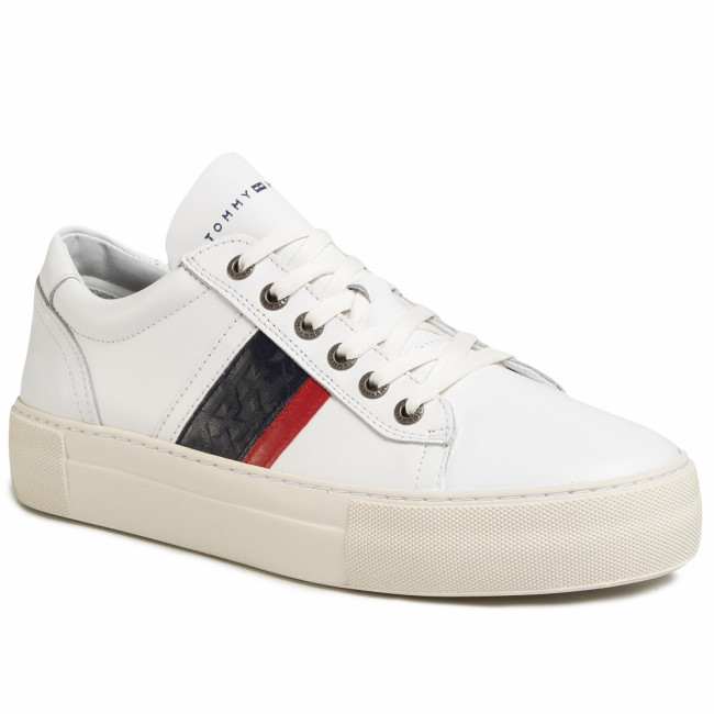 Sneakersy TOMMY HILFIGER - Fashion Th Leather Cupsole FM0FM02741 White YBS