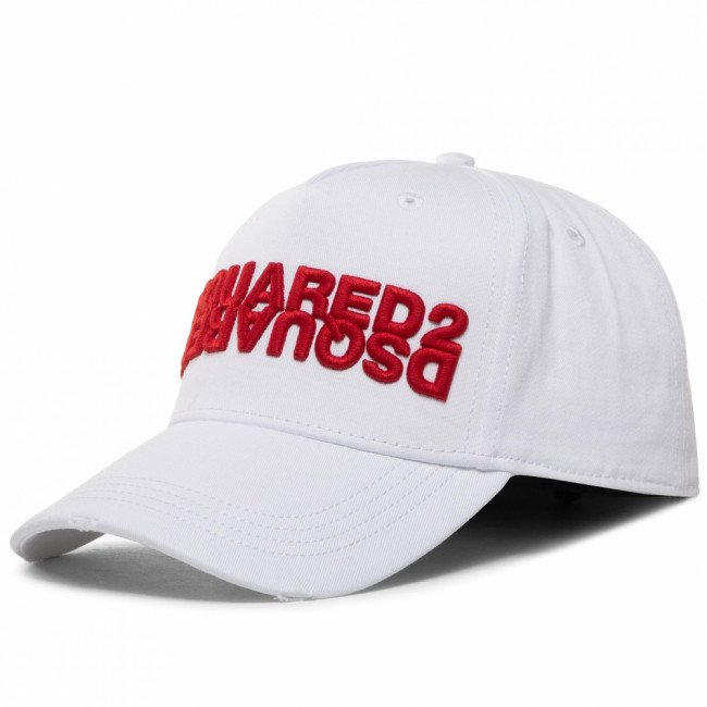 Šiltovka DSQUARED2 - Embroidered Cargo Baseball Caps BCM0282 05C00001 M1747 Bianco/Rosso