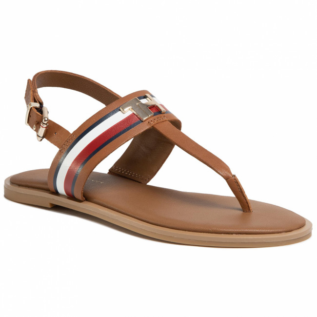 Sandále TOMMY HILFIGER - Corporate Letaher Fat Sandal FW0FW04840 Summer Camp GU9