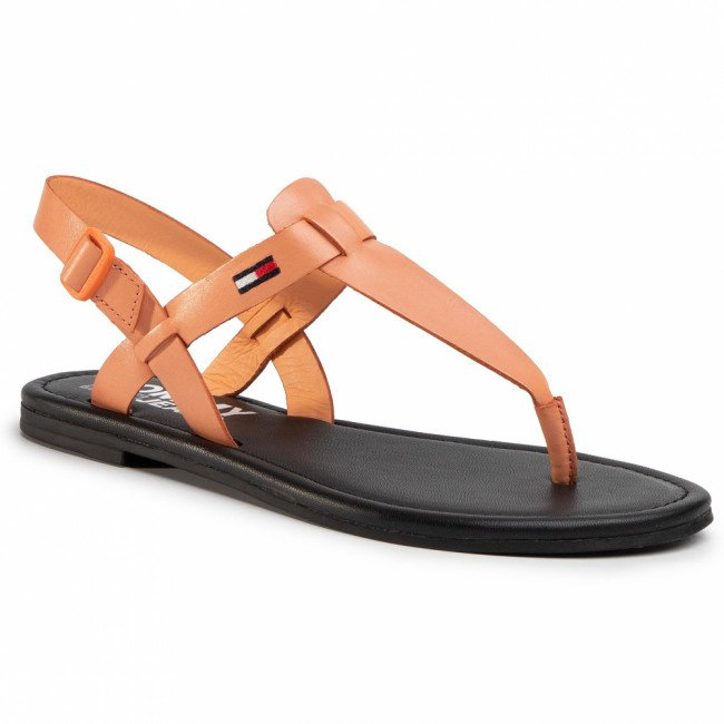Sandále TOMMY JEANS - Color Block Basic Thong Sandal EN0EN00908 Melon Orange SC1