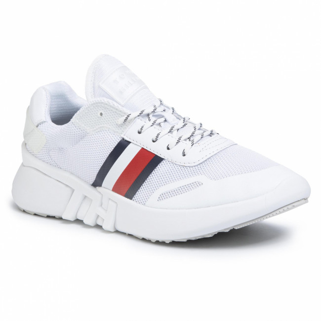 Sneakersy TOMMY HILFIGER - Tommy Sporty Branded Runner FW0FW04700 White YBS