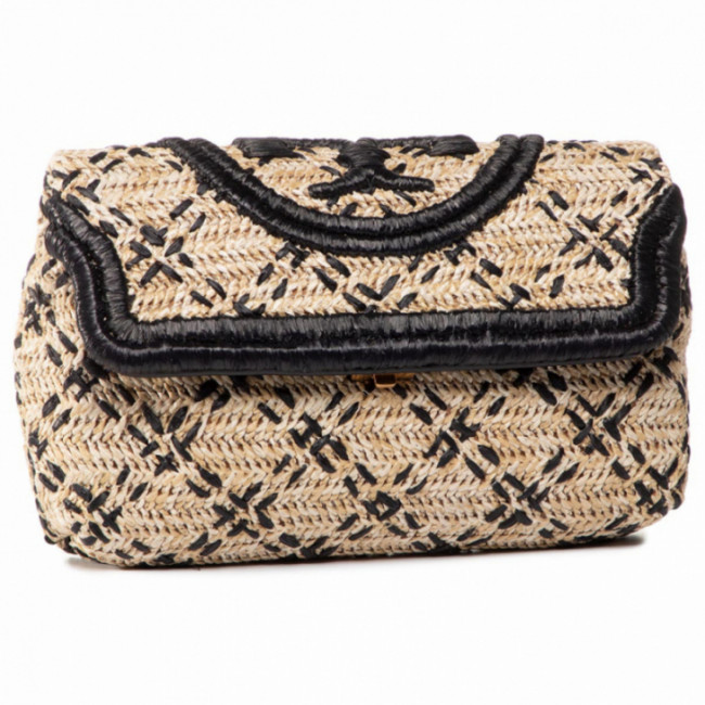 Kabelka TORY BURCH - Fleming Soft Straw Clutch 64418 Natural/Black 270