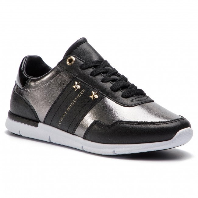 Sneakersy TOMMY HILFIGER - Tommy Essential Leather Sneaker FW0FW03688 Black 990