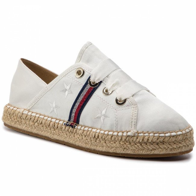 Espadrilky TOMMY HILFIGER - Flat Espadrille Corporate Ribbon FW0FW03801 Whisper White 121
