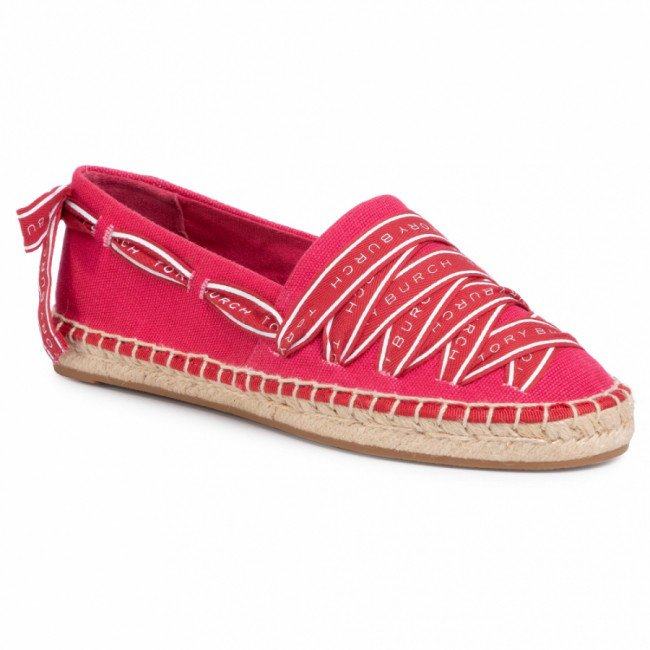 Espadrilky TORY BURCH - Logo Grosgrain Espadrille 61318 Bright Azalea/Brilliant Red 660