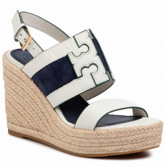 Espadrilky TORY BURCH - Ines 105Mm Wedge Espadrille 61748 Perfect Ivory/Royal Navy 102