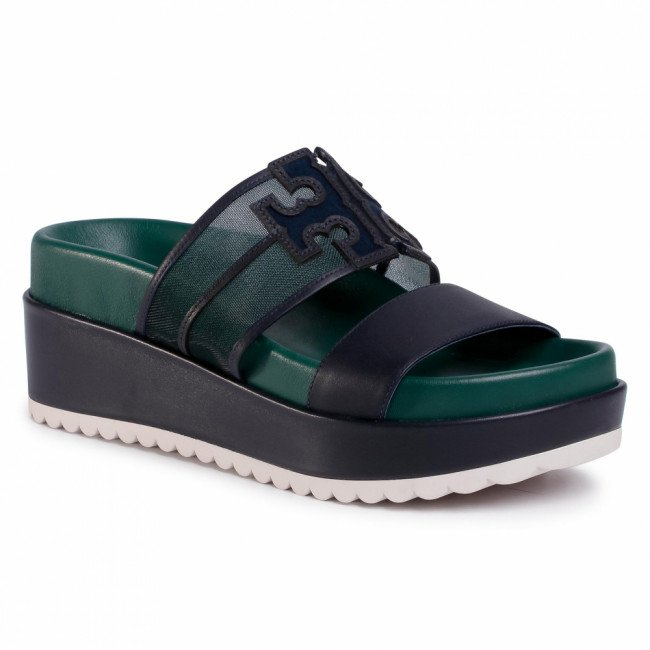 Šľapky TORY BURCH - Ines Platform Slide 63589 Malachite/Perfect Navy/Perfect Mavy 316