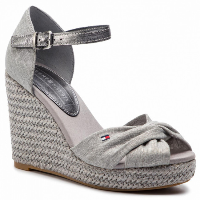 Espadrilky TOMMY HILFIGER - Iconic Elena Metallic Canvas FW0FW04080 Light Grey 018