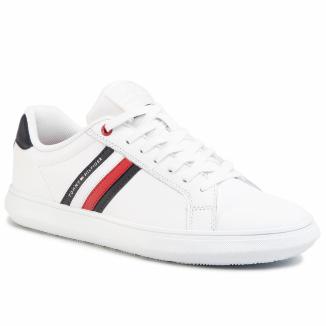 Sneakersy TOMMY HILFIGER - Essential Leather Cupsole FM0FM02668 White Ybs