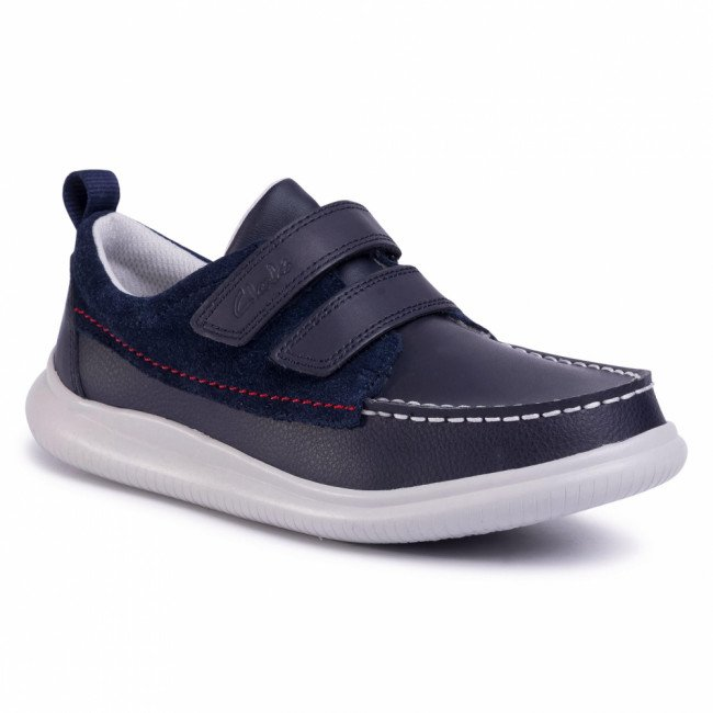 Poltopánky CLARKS - Cloud Art K 261505407 Navy Leather