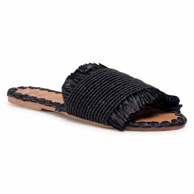 Šľapky MANEBI - Leather Sandals S 1.6 Y0 Black Fringed