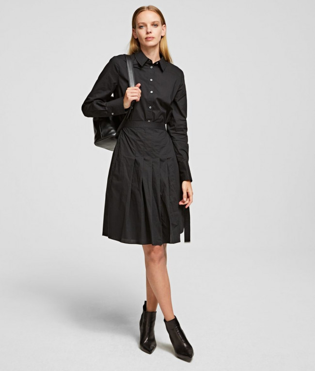 Šaty Karl Lagerfeld Poplin Shirt Dress W/ Pleats - Čierna