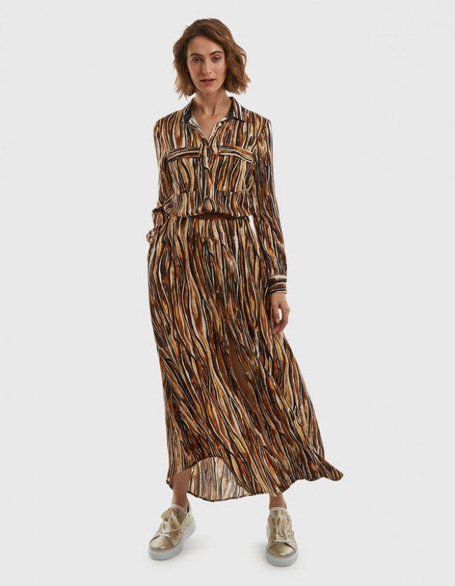 Šaty La Martina Woman Long Twill Printed Dress