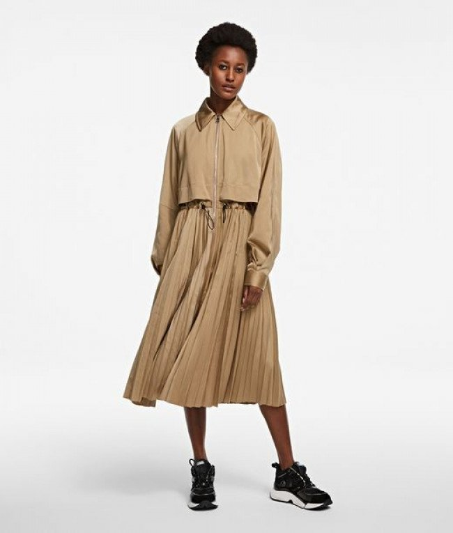 Kabát Karl Lagerfeld Technical Pleated Trench - Hnedá