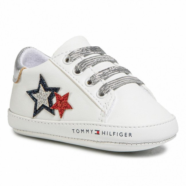 Poltopánky TOMMY HILFIGER - Lace Up T0A4-30594-0886 White/Blue/red Y003