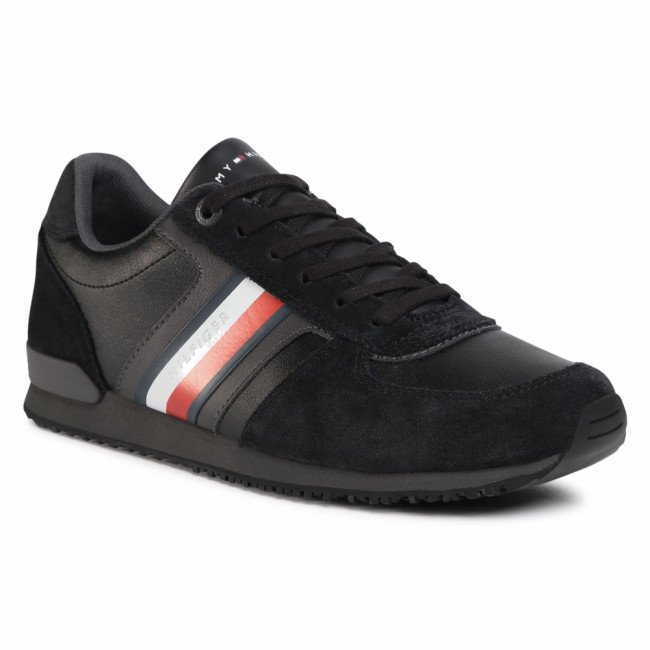 Sneakersy TOMMY HILFIGER - Iconic Mix Runner FM0FM03000 Black BDS